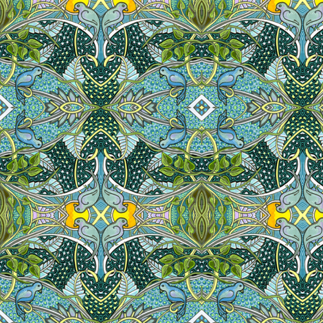 Tropical Island at Midnight fabric by edsel2084 on Spoonflower - custom fabric