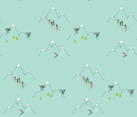 Mountain play (in robin's egg) fabric by calmcradle on Spoonflower - custom fabric