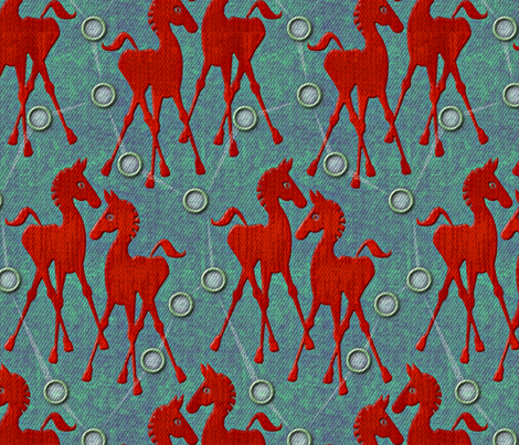 horses red fabric by glimmericks on Spoonflower - custom fabric