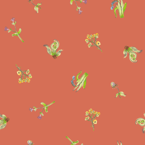 welsh-coast-flora_coral fabric by bee&lotus on Spoonflower - custom fabric