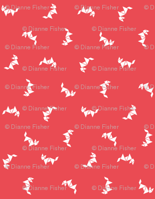 Tangram random fox white on extra dark coral