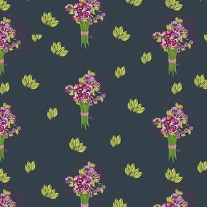 Pattern of flowers on a dark background