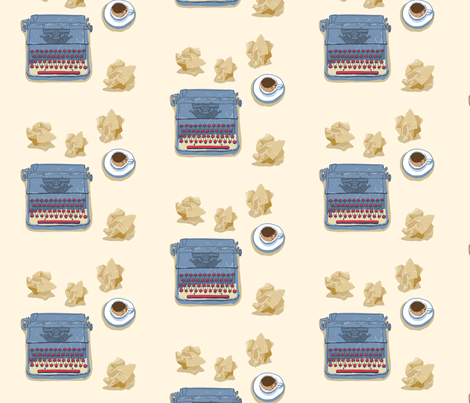 Typewriter with a cup of coffee and crumpled paper fabric by justmarie on Spoonflower - custom fabric