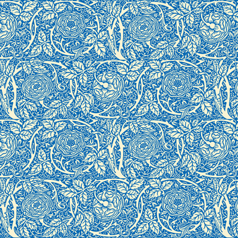 Blue Summer Roses fabric by amyvail on Spoonflower - custom fabric