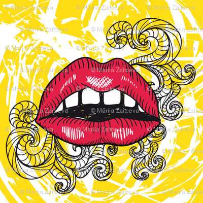 Red lips on the yellow background
