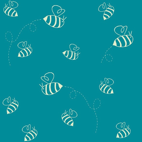 Buzzing bees (custard on turquoise)