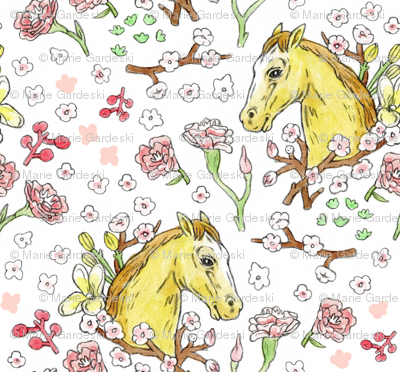 Horse Cameo With Flowers