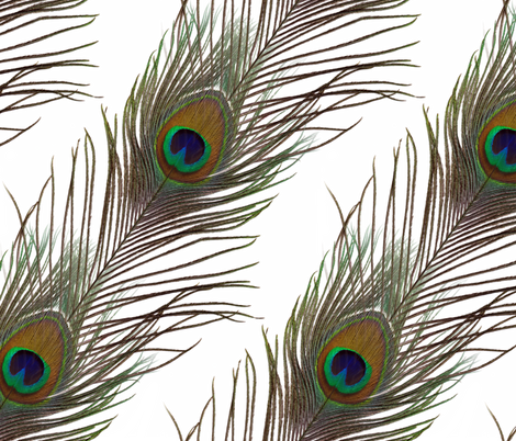 Peacock Stripe on White fabric by peacoquettedesigns on Spoonflower - custom fabric