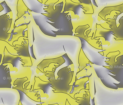 Horses in yellow/gray