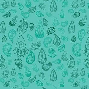 Elephant's Garden (Fuschia Raindrop) - Blue Paisleys