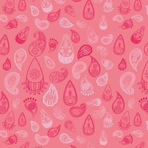 Elephant's Garden (Fuschia Raindrop) - Pink Paisleys