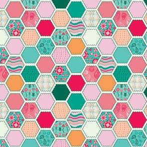 Elephant's Garden (Fuschia Raindrop) - Scalloped Hexagons