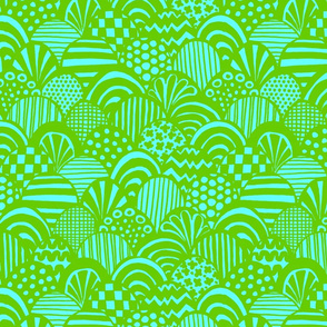Graphic Scallop, Aqua / Lime