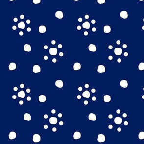 navy flowers with dots
