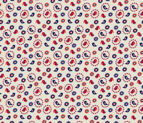 little birds fabric by valendji on Spoonflower - custom fabric