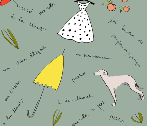 picnic on the grass after monet fabric by af_designs on Spoonflower - custom fabric