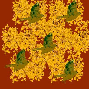 Chartreuse Sparrow Hawks and Golden Blossoms