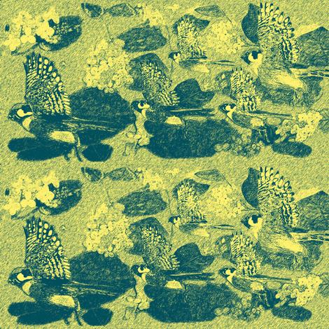Turquoise Gold Sparrow Hawks fabric by kumate on Spoonflower - custom fabric