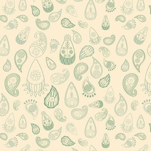 Elephant's Garden (Tangerine Violet) - Green Paisleys