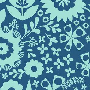 Spring Dream - Aqua /Denim - Large Scale