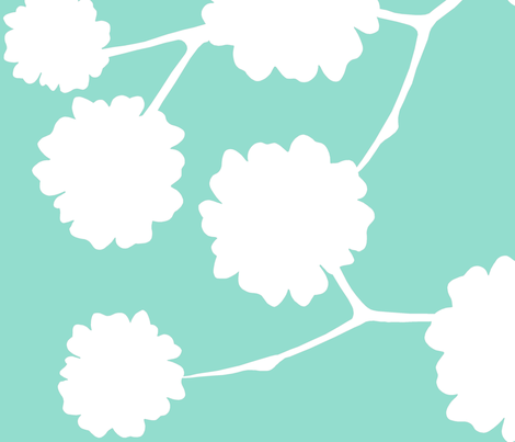 Blossoming - Aqua fabric by elephantandrose on Spoonflower - custom fabric