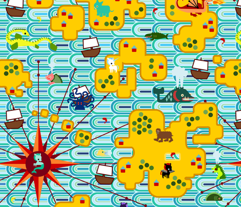 Map Monsters - Mod Blue fabric by thirdhalfstudios on Spoonflower - custom fabric