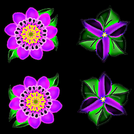 Neon Flowers on Black Velvet fabric by ravynscache on Spoonflower - custom fabric