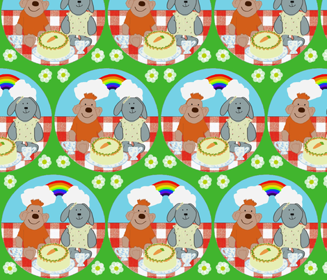 Monkey and rabbit do lunch  fabric by rebeccamoon on Spoonflower - custom fabric