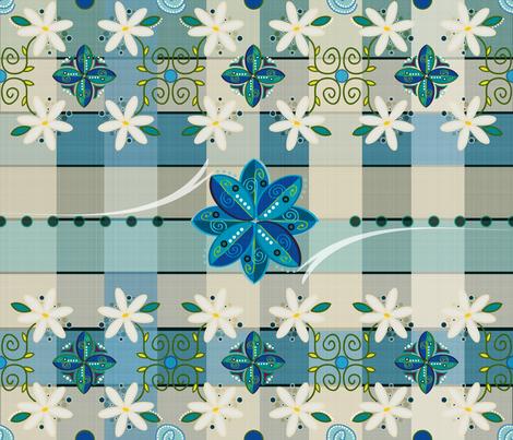 Aidas Vintage Blue Linen Tablecloth fabric by liluna on Spoonflower - custom fabric