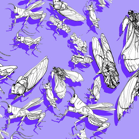 ditsy_crickets_purple fabric by ariellelouise on Spoonflower - custom fabric