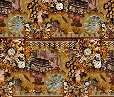 Come Fly With Me Steampunk Collage fabric by whimzwhirled on Spoonflower - custom fabric