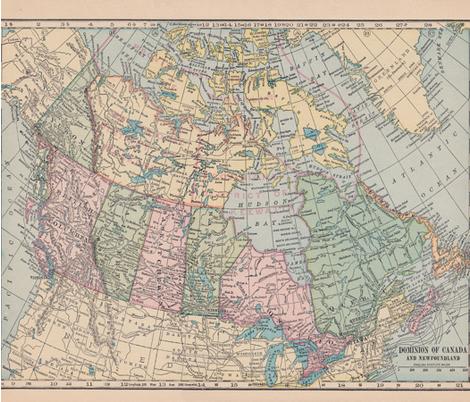 Oh Canada Map fabric by aftermyart on Spoonflower - custom fabric