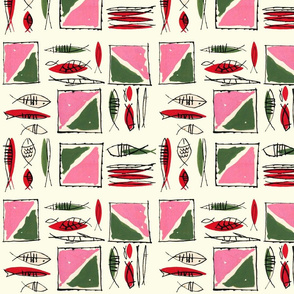 Abstract Red and Green Fish with Square Platters