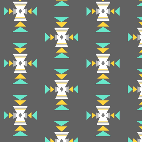 Turquoise, mustard, grey tribal fabric by mintpeony on Spoonflower - custom fabric