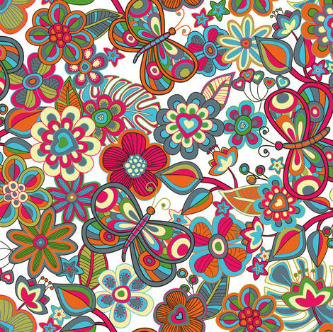 My butterflies and flowers in white fabric by juliagrifol on Spoonflower - custom fabric