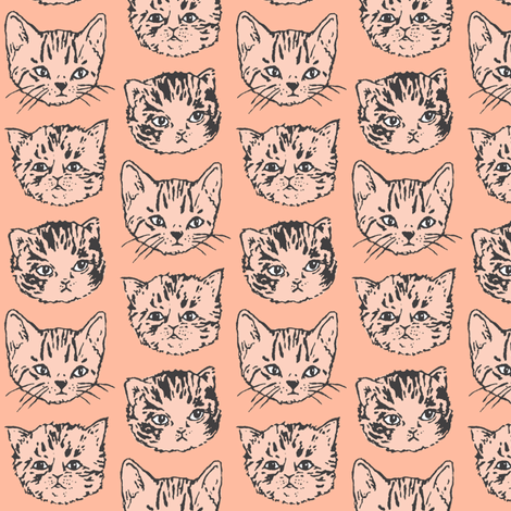 Cat Stack | Dark-Peach/Salmon fabric by imaginaryanimal on Spoonflower - custom fabric