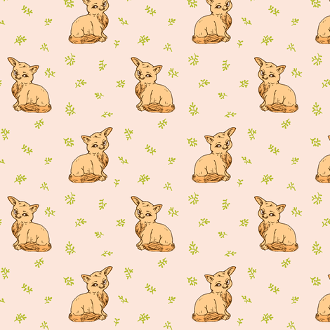Cute Baby Fox | Pale Peach fabric by imaginaryanimal on Spoonflower - custom fabric