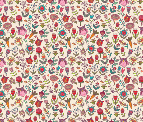 flowers and owls fabric by apolinarias on Spoonflower - custom fabric