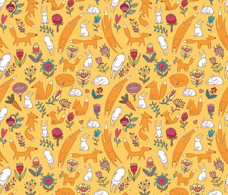 Rfoxes_hares_flowers_yellow_seamless_pattern_shop_preview