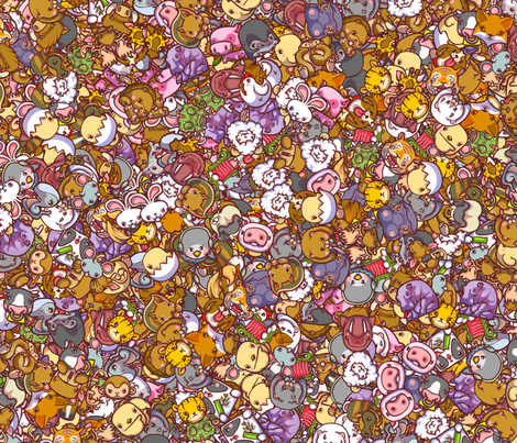 Kawaii Animals fabric by enfu on Spoonflower - custom fabric