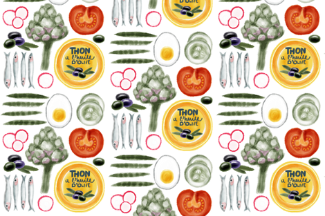 Salad Nicoise fabric by marmalademoon on Spoonflower - custom fabric