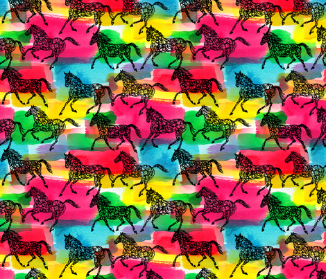 horse stampede fabric by andibird on Spoonflower - custom fabric