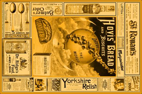Tea Towel: Vintage British Ads Sepia fabric by callioperosehandcarjones on Spoonflower - custom fabric