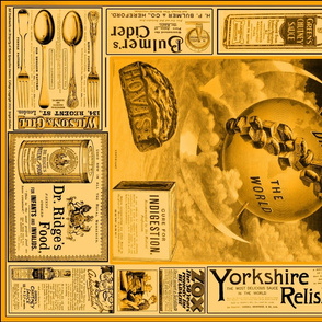 Tea Towel: Vintage British Ads Sepia