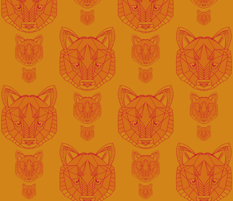 wolf in mandarin fabric by poppybasildesigns on Spoonflower - custom fabric