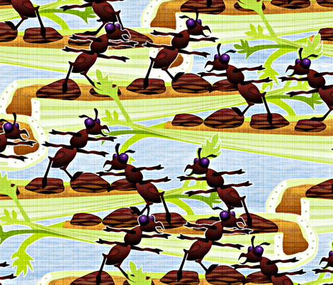 ants on a log large fabric by glimmericks on Spoonflower - custom fabric