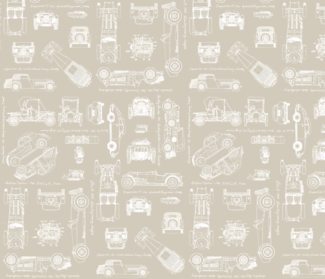 auto white/brown fabric by savannahlindsay on Spoonflower - custom fabric