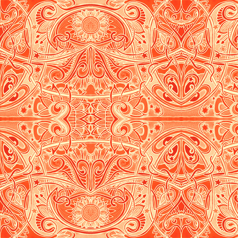 Orange Zest Nouveau fabric by edsel2084 on Spoonflower - custom fabric