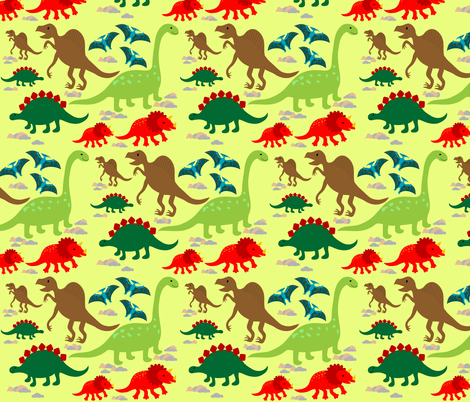 dinos2_green_diplo fabric by annets on Spoonflower - custom fabric