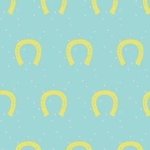 Giddyup, Horseshoes in Aqua & Yellow